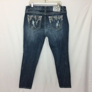Miss Me Jeans Easy Skinny Mid Rise 34 X 31 Bling